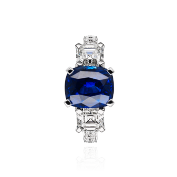 Three Stone Ceylon Sapphire and Diamond Ring.