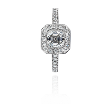 Vintage Style Platinum Ring with Asscher Cut Diamond Centre