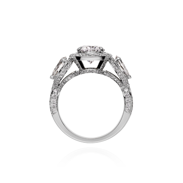 Oval cut diamond Ring with Pear shape Diamond Shoulders