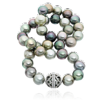Arabesque Tahitian Pearl Necklace with Platinum and Diamond Set Clasp
