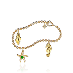 Beach Rocks 3 Charm Charm Bracelet in Yellow Gold