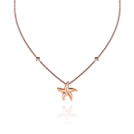Beach Rocks Starfish Pendant with Single Diamond in Red Gold