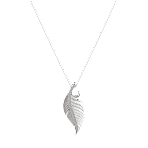 Feather Pendant in White Gold - Medium