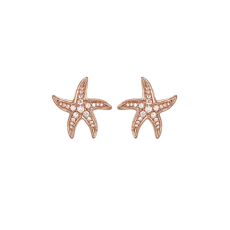 Beach Rocks Starfish Studs with Pave Diamonds in Red Gold