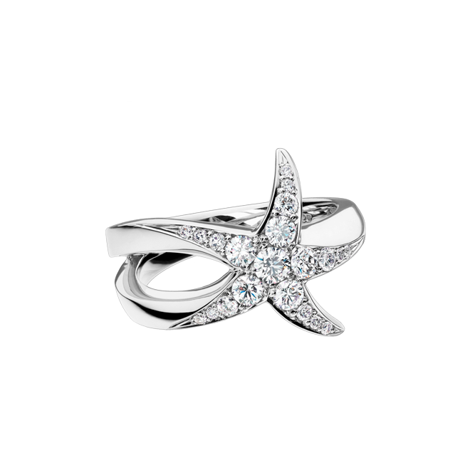 Beach Rocks Starfish Ring with Pavé Diamonds in White Gold