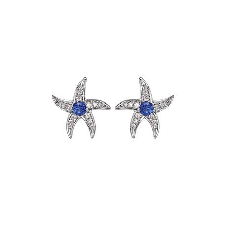 Beach Rocks Starfish Studs with Blue Sapphire in White Gold