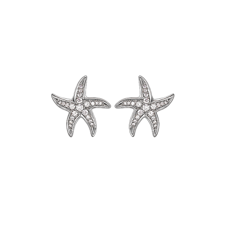 Beach Rocks Starfish Studs with Pave Diamonds in White Gold