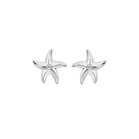 Beach Rocks Starfish Studs Single Diamond in White Gold