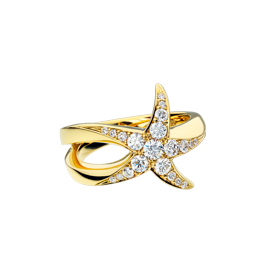 Beach Rocks Starfish Ring with Pavé Diamonds in Yellow Gold