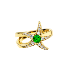 Beach Rocks Starfish Ring with Tsavorite in Yellow Gold