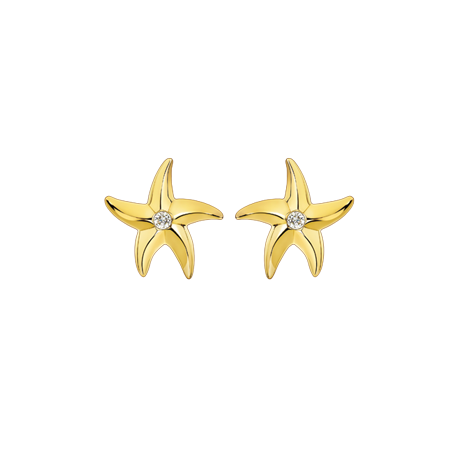 Beach Rocks Starfish Studs Single Diamond in Yellow Gold