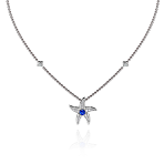 Beach Rocks Starfish Pendant with Blue Sapphire in White Gold