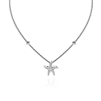 Beach Rocks Starfish Pendant with Pave Diamonds in White Gold