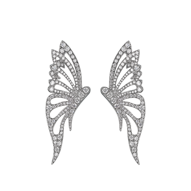 Butterfly Studs in White Gold
