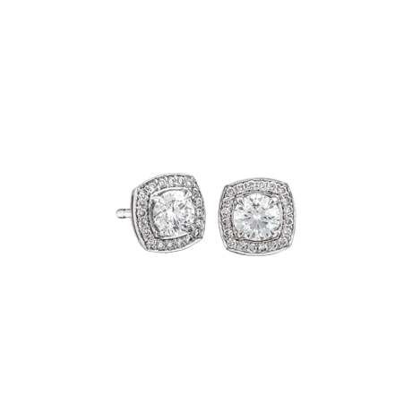 Cushion shape surround round brilliant cut diamond studs