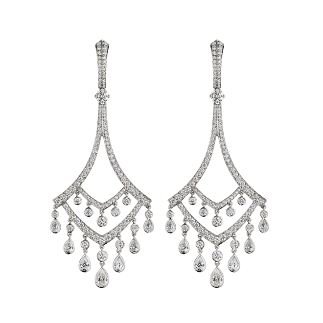 Deco Chandelier Earrings in Platinum