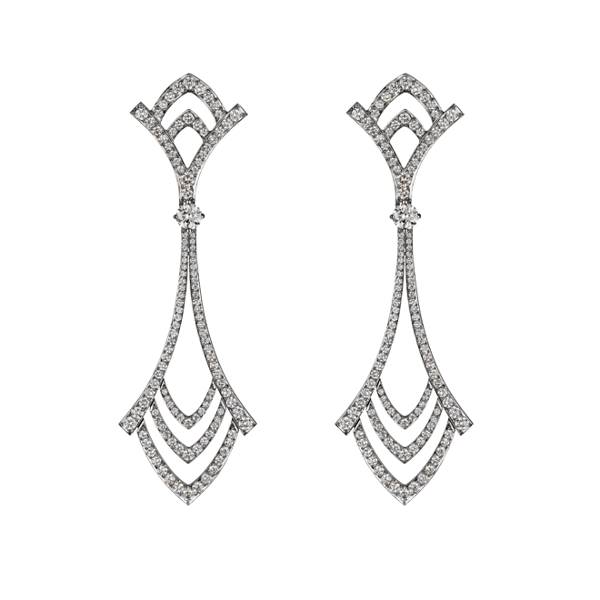 Deco Drop Earrings in White Gold