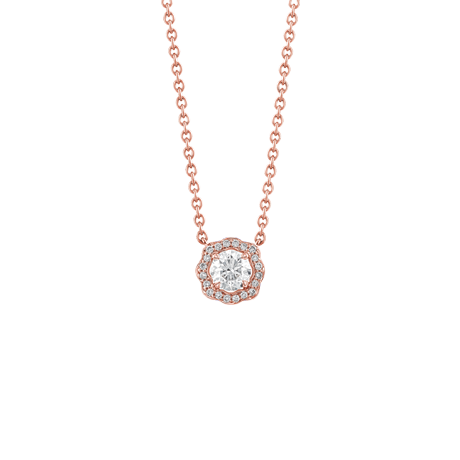 Floral surround diamond pendant in red gold