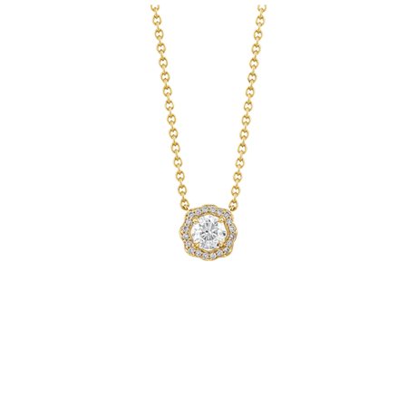 Floral surround diamond pendant in yellow gold