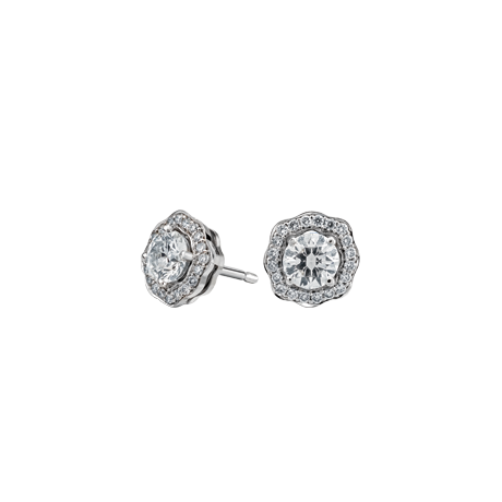 Floral surround Round brilliant diamond studs