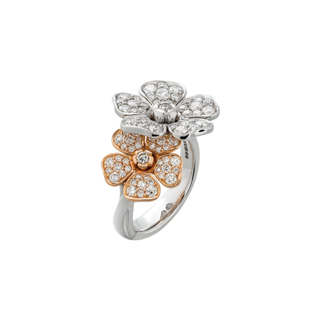 Forget me not double flower ring in white and red gold