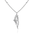 Butterfly Pendant in White Gold - Large