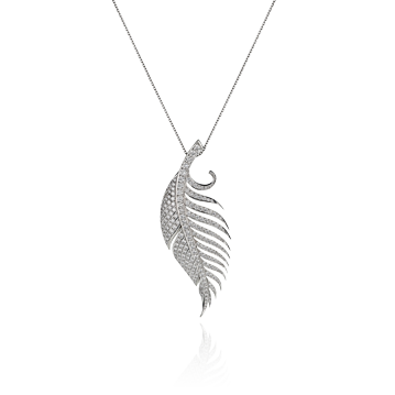 Feather Pendant in White Gold - Large