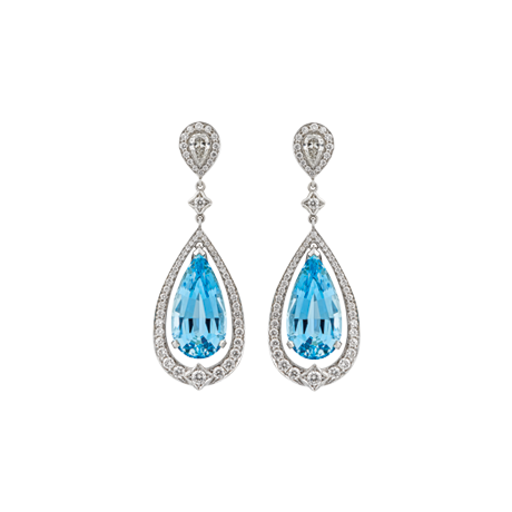 Pear shape aquamarine and diamond drop earrings
