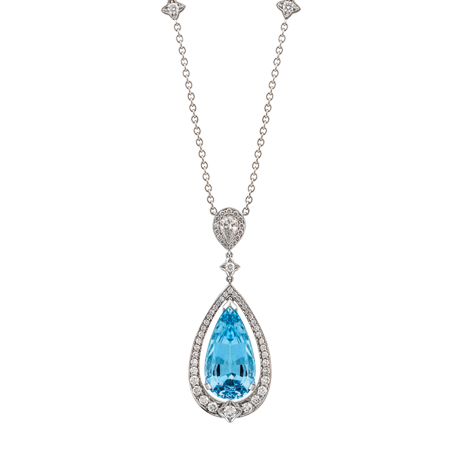Pear shape aquamarine and diamond pendant