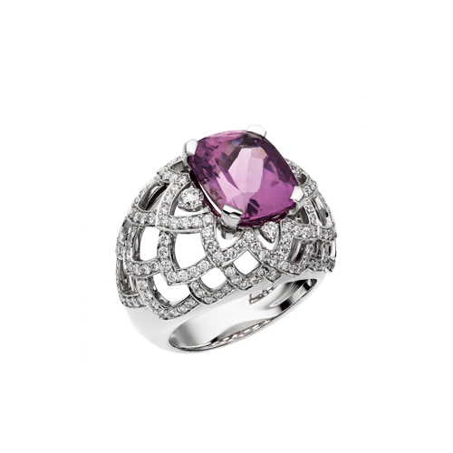 Lattice Petal Bombé Ring With Lavender Tourmaline