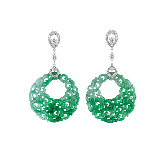 Green Jade round disc drop earrings