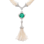 Seed Pearl & Green Tourmaline Tassel Necklace