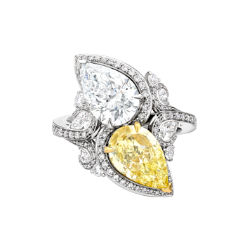 Seeing Double Yellow and White Pear shape diamond ring