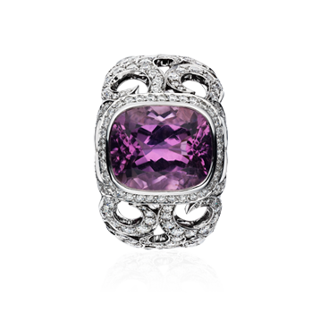 Swirly Bombé Ring With Lavender Tourmaline