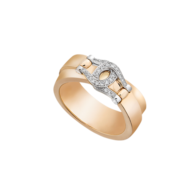 Unbridled ring in red gold with diamond set bit