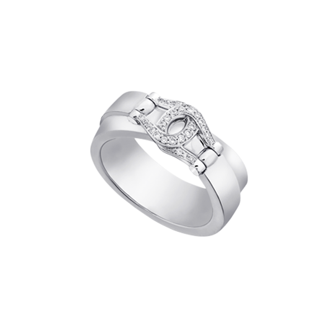 Unbridled ring in white gold with diamond set bit