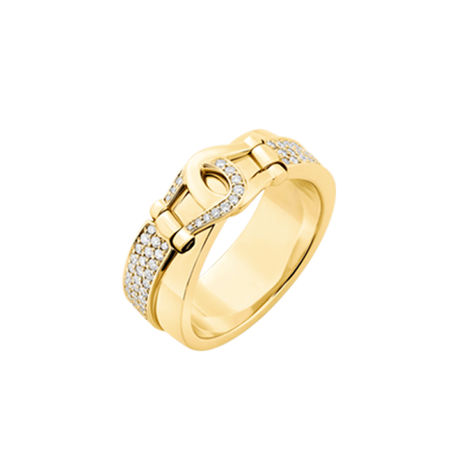 Unbridled ring in yellow gold with pave set white diamonds