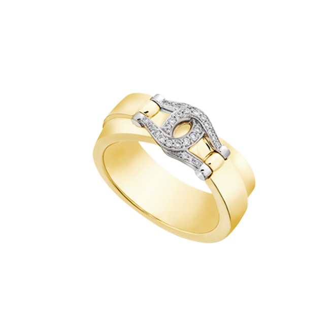 Unbridled ring in yellow gold with diamond set bit