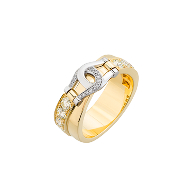 Unbridled Yellow gold ring set with yellow and white diamonds