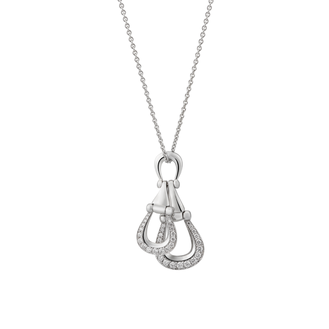 Unbridled white gold and diamond pendant
