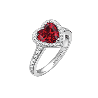 Vintage heart shaped ruby and diamond ring
