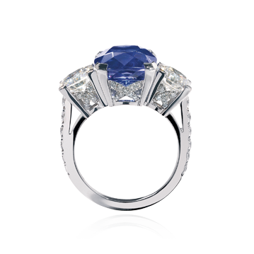 Three stone Tanzanite and diamond ring