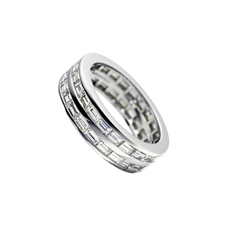 Double Row Baguette Diamond Gents Eternity Ring