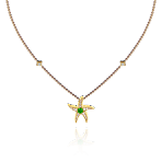 Beach Rocks Starfish Pendant with Tsavorite in Yellow Gold