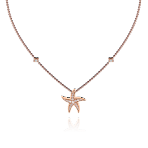 Beach Rocks Starfish Pendant with Pave Diamonds in Red Gold