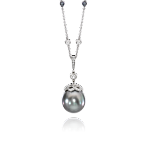 Tahitian Drop Pearl Pendant with Platinum Chain