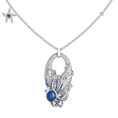Beach Rocks Octopus Necklace with Opal and Sapphire
