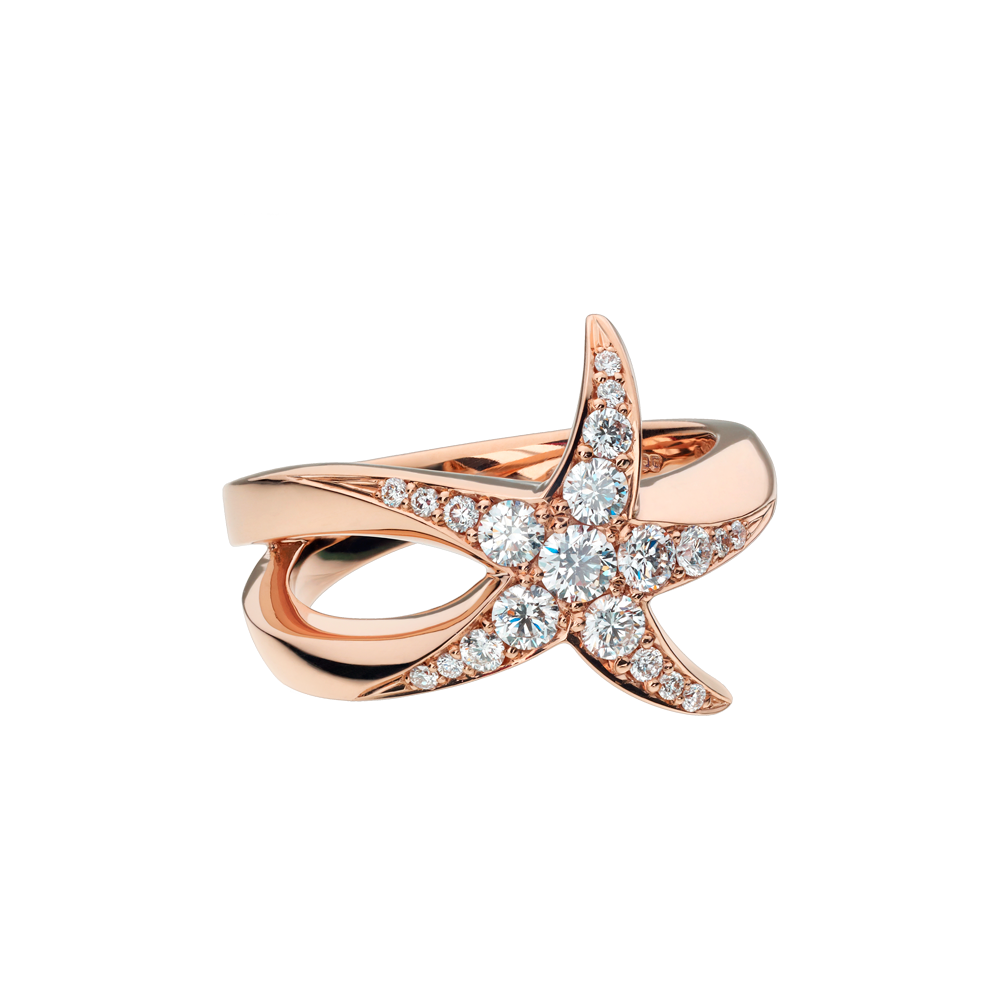 Beach Rocks Starfish Ring with Pavé Diamonds in Red Gold