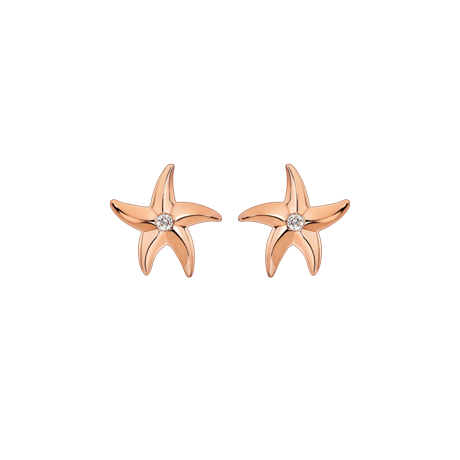 Beach Rocks Starfish Studs Single Diamond in Red Gold