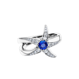Beach Rocks Starfish Ring with Blue Sapphire in White Gold